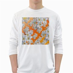 Flowers Background Backdrop Floral White Long Sleeve T Shirts