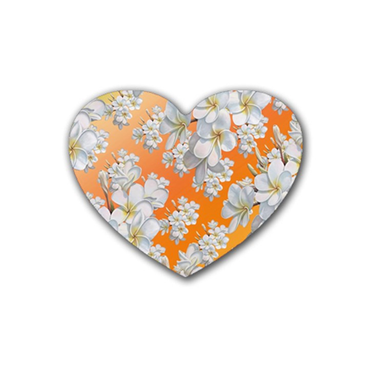 Flowers Background Backdrop Floral Rubber Coaster (Heart)