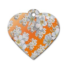Flowers Background Backdrop Floral Dog Tag Heart (one Side)