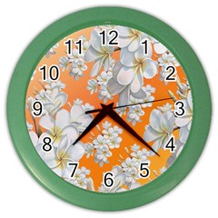 Flowers Background Backdrop Floral Color Wall Clocks
