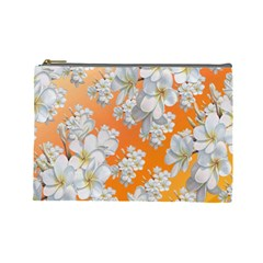 Flowers Background Backdrop Floral Cosmetic Bag (large)