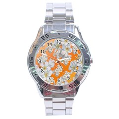 Flowers Background Backdrop Floral Stainless Steel Analogue Watch