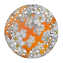 Flowers Background Backdrop Floral Round Filigree Ornament (two Sides)