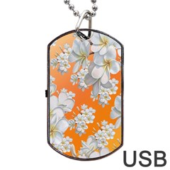 Flowers Background Backdrop Floral Dog Tag Usb Flash (two Sides)