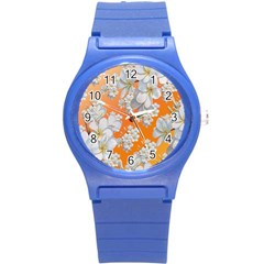 Flowers Background Backdrop Floral Round Plastic Sport Watch (s)