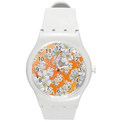 Flowers Background Backdrop Floral Round Plastic Sport Watch (m)