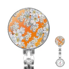 Flowers Background Backdrop Floral Stainless Steel Nurses Watch