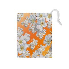 Flowers Background Backdrop Floral Drawstring Pouches (Medium)