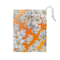 Flowers Background Backdrop Floral Drawstring Pouches (large)