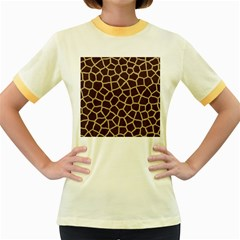 Giraffe Animal Print Skin Fur Women s Fitted Ringer T Shirts