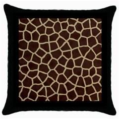 Giraffe Animal Print Skin Fur Throw Pillow Case (black)