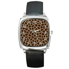 Giraffe Animal Print Skin Fur Square Metal Watch