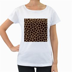 Giraffe Animal Print Skin Fur Women s Loose Fit T Shirt (white)