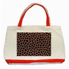 Giraffe Animal Print Skin Fur Classic Tote Bag (red)