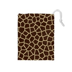 Giraffe Animal Print Skin Fur Drawstring Pouches (medium)
