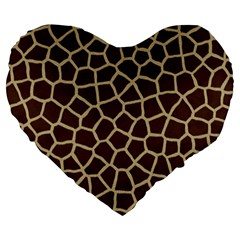 Giraffe Animal Print Skin Fur Large 19  Premium Flano Heart Shape Cushions
