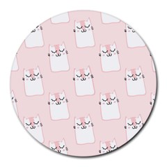 Pattern Cat Pink Cute Sweet Fur Round Mousepads