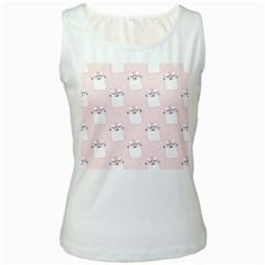 Pattern Cat Pink Cute Sweet Fur Women s White Tank Top