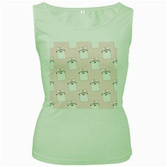 Pattern Cat Pink Cute Sweet Fur Women s Green Tank Top