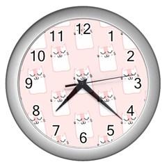 Pattern Cat Pink Cute Sweet Fur Wall Clocks (silver)