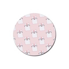Pattern Cat Pink Cute Sweet Fur Rubber Round Coaster (4 Pack)
