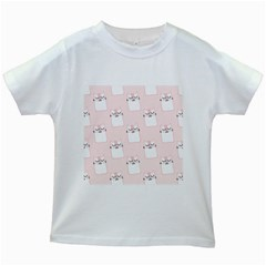 Pattern Cat Pink Cute Sweet Fur Kids White T Shirts
