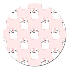 Pattern Cat Pink Cute Sweet Fur Magnet 5  (round)