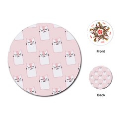 Pattern Cat Pink Cute Sweet Fur Playing Cards (round)