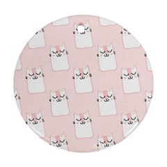 Pattern Cat Pink Cute Sweet Fur Round Ornament (two Sides)