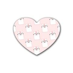 Pattern Cat Pink Cute Sweet Fur Rubber Coaster (heart)