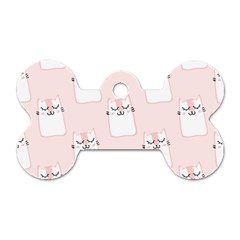 Pattern Cat Pink Cute Sweet Fur Dog Tag Bone (two Sides)