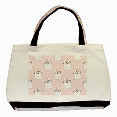 Pattern Cat Pink Cute Sweet Fur Basic Tote Bag (two Sides)