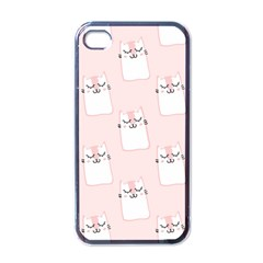 Pattern Cat Pink Cute Sweet Fur Apple Iphone 4 Case (black)