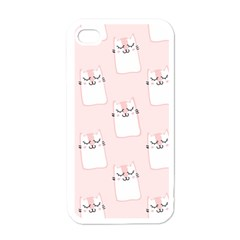 Pattern Cat Pink Cute Sweet Fur Apple Iphone 4 Case (white)