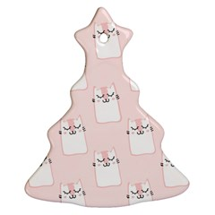 Pattern Cat Pink Cute Sweet Fur Christmas Tree Ornament (two Sides)