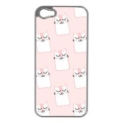 Pattern Cat Pink Cute Sweet Fur Apple Iphone 5 Case (silver)