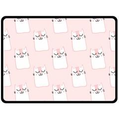 Pattern Cat Pink Cute Sweet Fur Double Sided Fleece Blanket (large)
