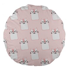 Pattern Cat Pink Cute Sweet Fur Large 18  Premium Flano Round Cushions