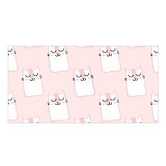Pattern Cat Pink Cute Sweet Fur Satin Shawl