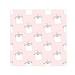 Pattern Cat Pink Cute Sweet Fur Small Satin Scarf (square)