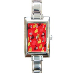 Hare Easter Pattern Animals Rectangle Italian Charm Watch