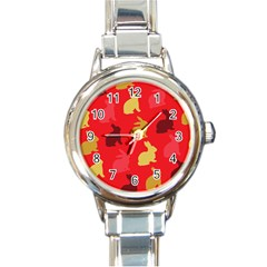 Hare Easter Pattern Animals Round Italian Charm Watch