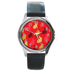Hare Easter Pattern Animals Round Metal Watch
