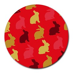 Hare Easter Pattern Animals Round Mousepads