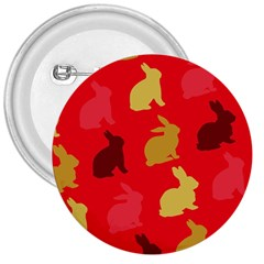 Hare Easter Pattern Animals 3  Buttons