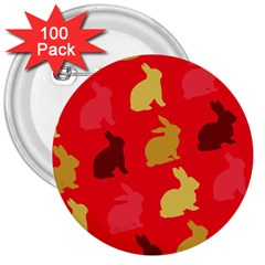 Hare Easter Pattern Animals 3  Buttons (100 pack)