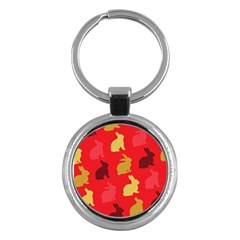Hare Easter Pattern Animals Key Chains (round)