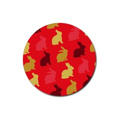 Hare Easter Pattern Animals Rubber Coaster (round)