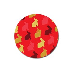 Hare Easter Pattern Animals Magnet 3  (round)