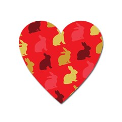 Hare Easter Pattern Animals Heart Magnet